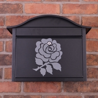 Black Dublin Postbox With English Rose Design - without