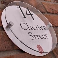 Modern Acrylic Round House Sign With English Rose Emblem