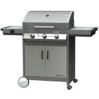 Cadac Meridian 3 Burner Gas BBQ with Side Burner - Stainless Steel