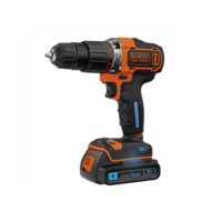 Image of Black & Decker 18V Lithium-ion 2 Gear Smart Tech Hammer Drill with 400mA Charger & Kitbox