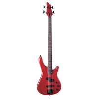 Electric Bass With Neck & Bridge Pick-up, Red