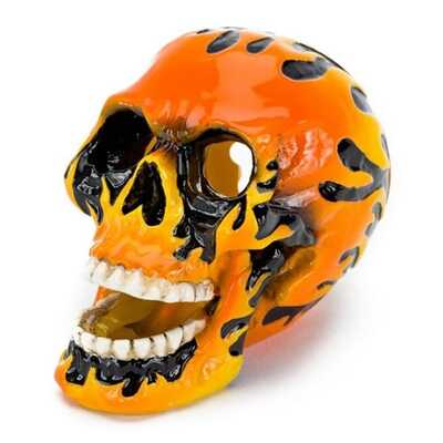 Penn Plax Fire Skull Resin Aquatic Ornaments