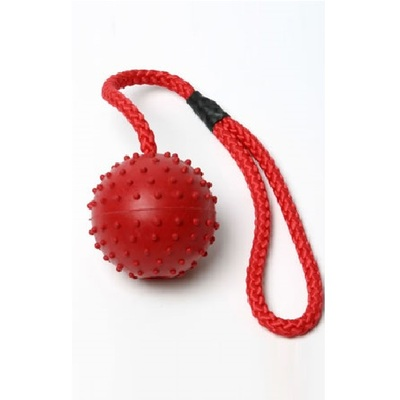 Lazy Bones Rubber Studded Ball On Rope Dog Toy