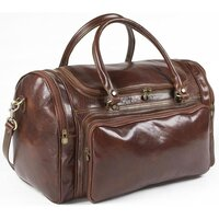 Classic Leather Premium Calfskin Italian Holdall / Weekend / Overnight Bag - Brown