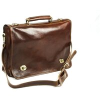 Classic Range Italian Leather Turn-Lock Messenger Bag - Brown