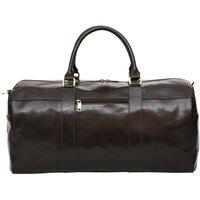 Felda Genuine Leather Dark Brown / Black Leather Holdall / Duffle Bag - Dark Brown