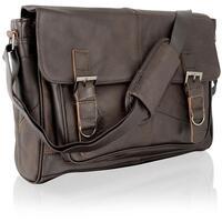 Lorenz Unisex Woody Classic Real Leather Messenger Bag - Black