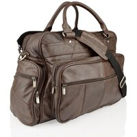 Woodland Leather Real Leather Overnight Holdall with Grainy Effect - Brown