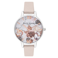 Marble Florals Watch - Pink, Rose Gold & Silver