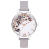 Watercolour Floral Demi Dial Watch - Grey Lilac, Silver & Rose Gold