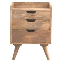 Artisan Furniture &pipe; Scandinavian Styled Bedside with 3 Cut Out Drawers