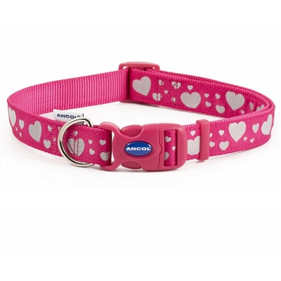 Ancol Pink Reflective Hearts Adjustable Dog Collar