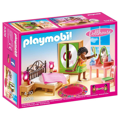 Playmobil Dollhouse Master Bedroom With Functional Bedside Lights