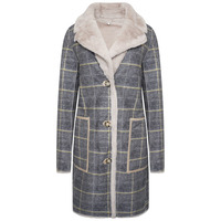 Rida Reversible Faux Suede Coat - Yellow Checked - 14