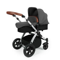 Ickle Bubba Stomp v3 All In One Travel System With 0+ Galaxy Car Seat and Isofix Base - Black - Black