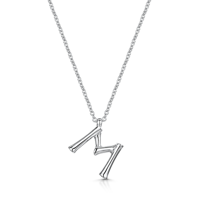 ROX Bamboo Sterling Silver Letter M Pendant