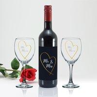 Mr & Mrs Gold Heart Red Wine Gift Set