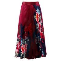 Floral Printed Pleated Skirt - Wine