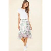 Paola Flounce Wrap Skirt - Ivory