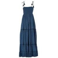 Livia Frill Cotton Maxi Dress - Navy