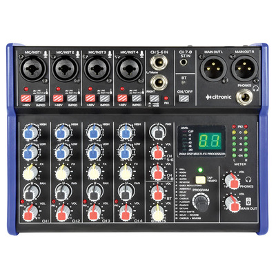 Compact 4 Channel Mixer with Bluetooth and DSP Effects