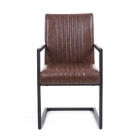 Shankar &pipe; Archer Cantilever Leather Effect Brown Carver Chair (Pair)