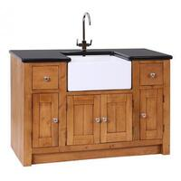 St Albans Rustic Oak And Granite Kitchen Sink Unit With 4 Doors & 2 Drawers