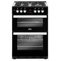 Belling Cookcentre 60DF Black Dual Fuel Cooker with Double Oven, Black