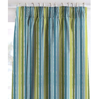 Catherine Lansfield, Green and Blue Striped Curtains 66 x 72 Inch