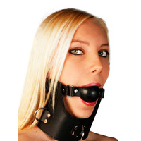 Leather 3 D Ring Collar With Detachable Ball Gag | Halloween