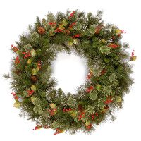 """Woodbury Pine Christmas Wreath with Cones,Red Berries & Snowflakes - 24"""""""