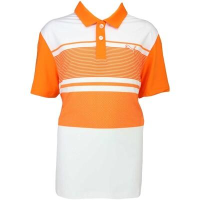 Puma Junior Golf Shirt Pattern Block Vibrant Orange SS16