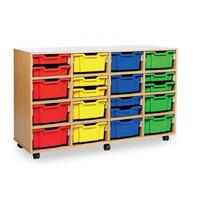 Image of 16 Deep Tray Storage Unit Beech Finish All Blue Trays