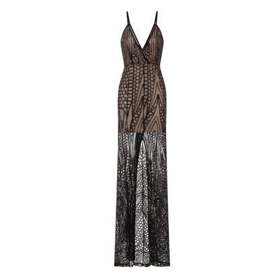 DAPHNE SHEER MESH SEQUIN SLIT MAXI GOWN DRESS'