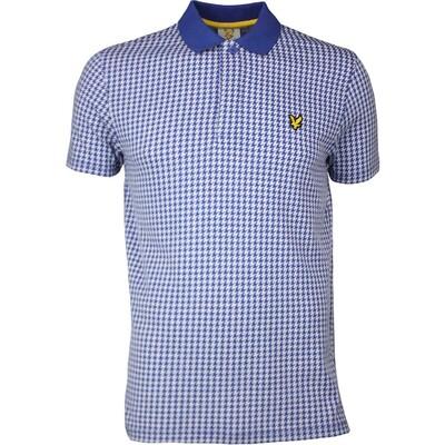 Lyle Scott Golf Shirt Haddington Houndstooth Cobalt SS17