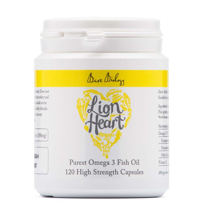 Bare Biology Lion Heart Purest Omega 3 Fish Oil 120 High Strength Capsules