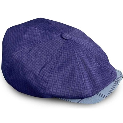 Ted Baker Golf Flat Cap Overdyed Check Navy AW17