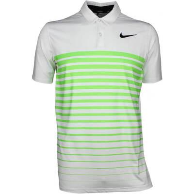 Nike Golf Shirt NK Dry Stripe White Green Strike AW17
