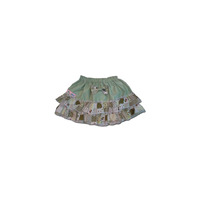 100% Cotton Baby RaRa Skirt - Green with Green Patchwork - Small