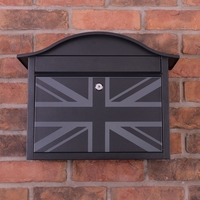 Black Dublin Postbox With British Union Flag Design - without
