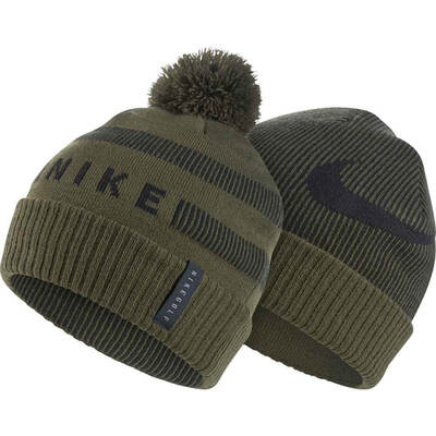 Nike Golf Hat NK Reversible Pom Beanie Olive Canvas SS19