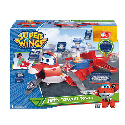 Super Wings - Jetts Takeoff Tower 2-in-1 Toy Playset, Includes Figure