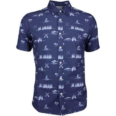 PUMA Golf Shirt Play Loose Paradise Button Up Peacoat LE SS19