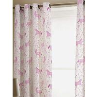 Catherine Lansfield Folk Unicorn Eyelet Curtains 66 x 72 Inch Pink