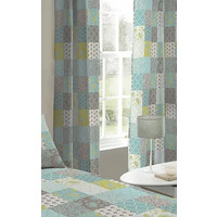 Jessica, Teal Patchwork Eyelet Curtains 72s