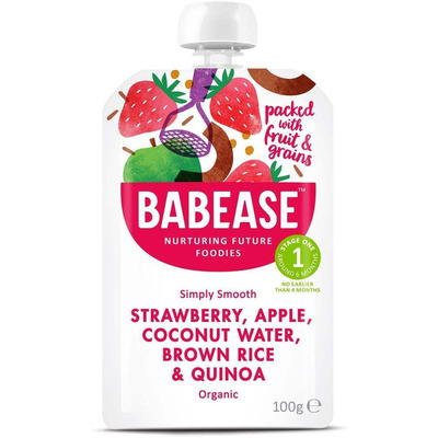 Babease Organic Strawberry, Apple, Coconut Water, Brown Rice & Quinoa 100g - Stage 1 - Box of 8