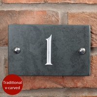 Slate house number v-carved with white infill numbers 1 to 99