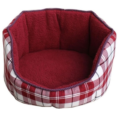 Lazy Bones High Sided Red Chequered Oval Dog Beds