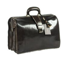 Classic Luxurious Italian Leather Gladstone Top Frame Briefcase - Black