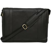 Felda Firenze Italian Leather Laptop Business Messenger Bag - Black